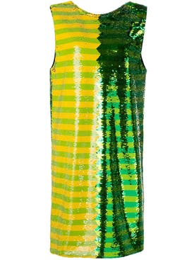 Halpern - Green And Yellow Sequin Mini Dress - Women