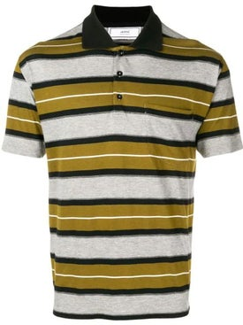 Ami Alexandre Mattiussi - Short Sleeve Striped Polo Shirt With Ami Label - Men