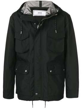 hooded pocket jacket BLACK