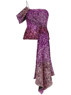 purple draped sleeve sequin top