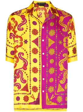 Versace - Yellow And Pink Logo Bowling Shirt - Men