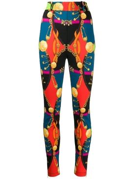 Multicolored baroque print leggings