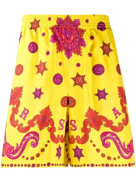 Versace - Yellow Medusa Print Shorts - Men