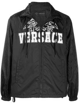 Versace - Black Zipped Logo Jacket - Men