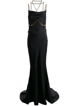 Versace - Black And Gold Chain Gown - Women
