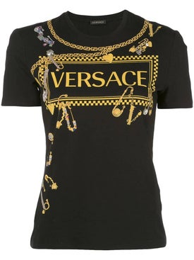Versace - Jeweled Pins Graphic T-shirt Black - Women
