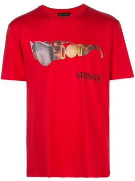Sunglasses logo print t-shirt RED
