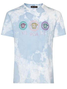 Tie-dye Medusa logo t-shirt WHITE/TURQUOISE