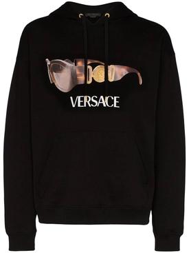 Sunglass logo print hoodie BLACK