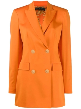 Orange double-breasted blazer