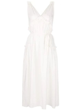 flared V-neck dress WHITE