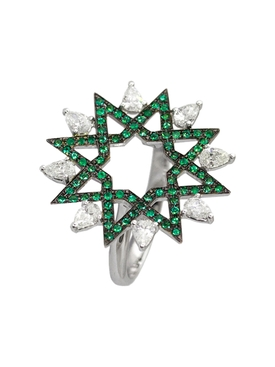 Emerald and diamond arabesque ring