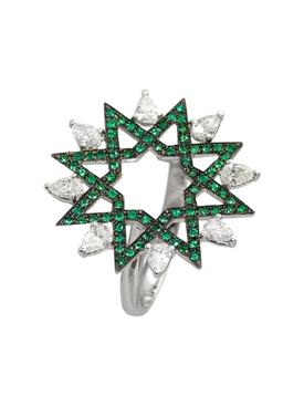 Emerald and diamond arabesque ring