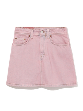 Pink Washed Denim Mini skirt PINK