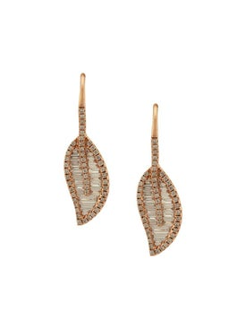 Anita Ko - 18kt Rose Gold Leaf Diamond Earrings - Women