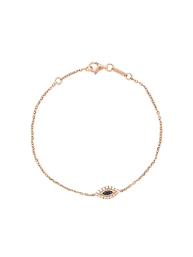 18kt rose gold evil eye diamond bracelet