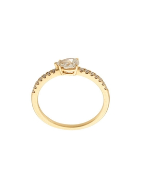 18kt yellow gold pear diamond pave ring