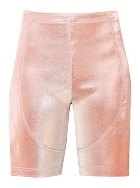 Area - Rose Lamé Biker Shorts - Women
