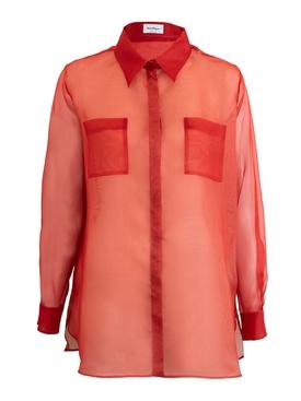 Burnt Orange Silk Shirt RED