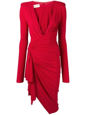 Alexandre Vauthier - Side Knot Gathered Dress Red - Women