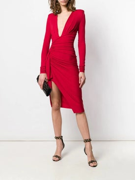 Alexandre Vauthier - Side Knot Gathered Dress Red - Mid-length