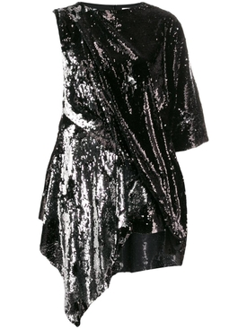 black and silver sequin mini dress