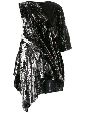 Marques'almeida - Black And Silver Sequin Mini Dress - Women