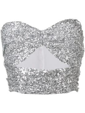 Attico - Sequin Bandeau Crop Top - Women