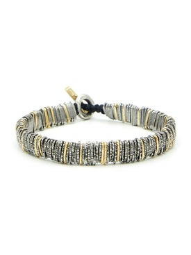 M. Cohen - Silver And Gold Distressed Barcode Bracelet - Men