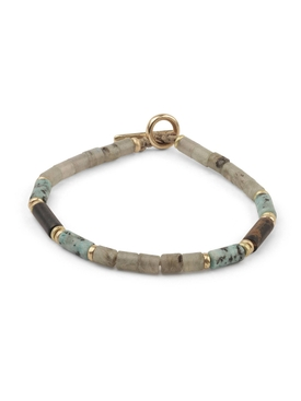 Grey and turquoise brace bracelet