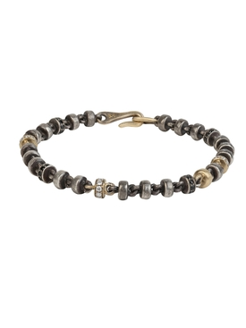 Oxidized sterling and 18k matte gold bracelet