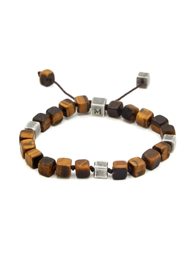 Tiger eye and sterling silver cube bead bracelet