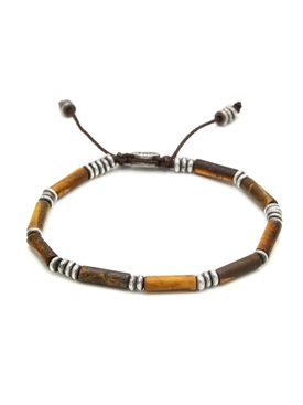 Tiger eye tube bead bracelet