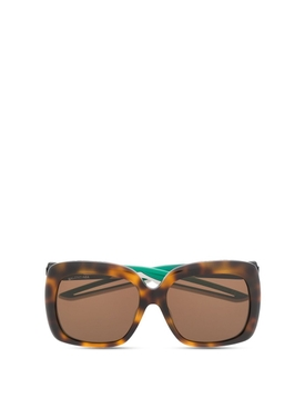 Oversized square sunglasses Havana Brown and Green