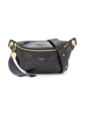 BLACK CRACKLED LEATHER ID BELT BAG