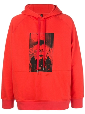Subway print hoodie RED