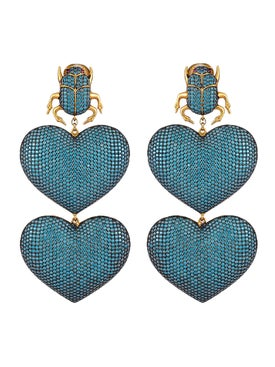 Begum Khan - Blue Scarab Mon Amour Earring - Women