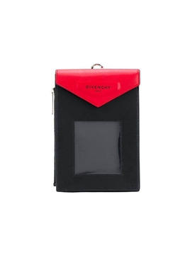 Red and black neck window pouch