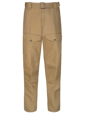 Belted straight leg pants BEIGE