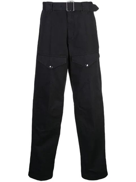 Belted straight leg pants BLACK