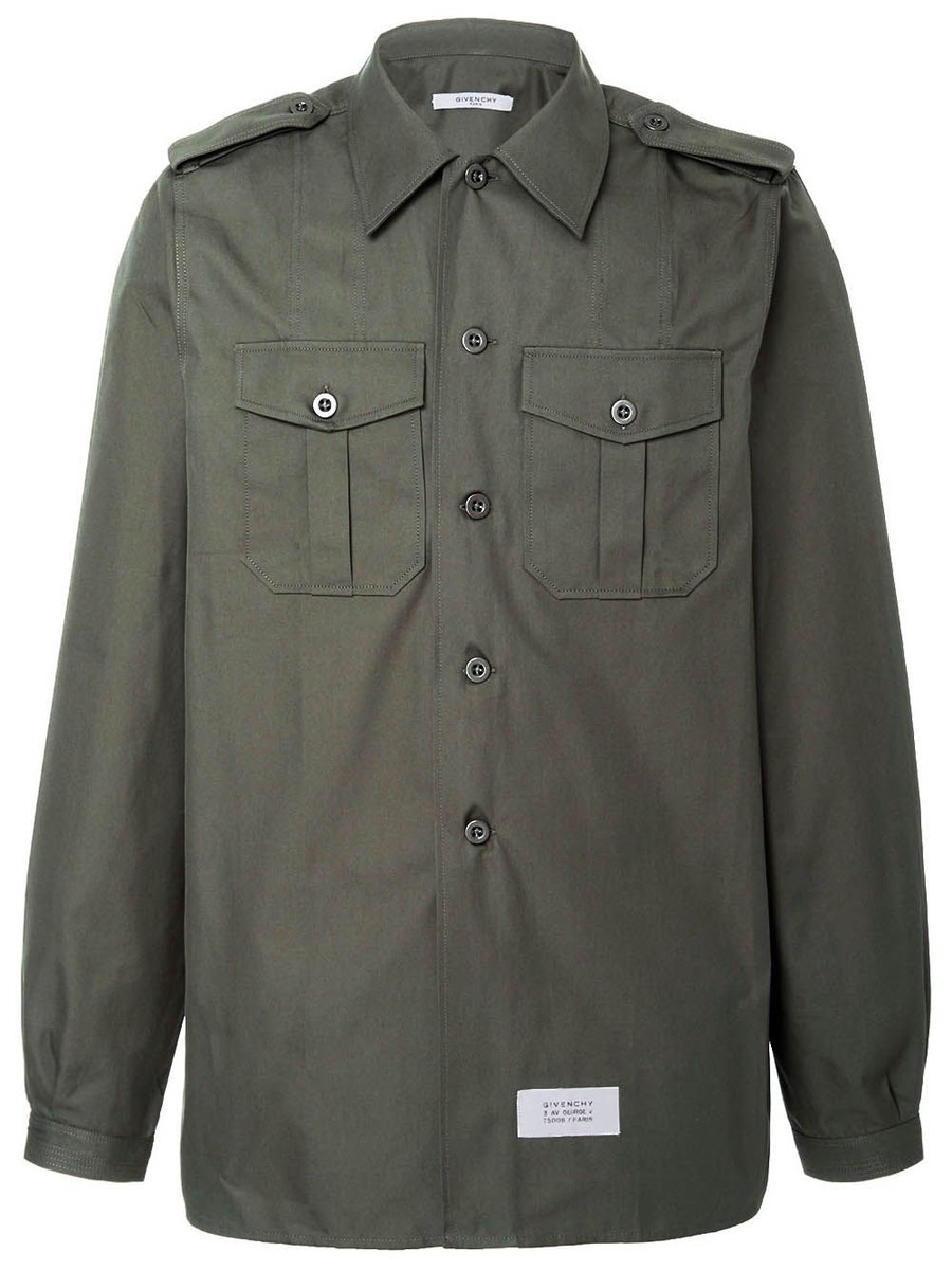 Givenchy T-shirts cotton and linen military shirt