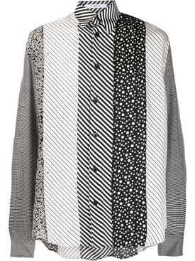 black and white print silk shirt