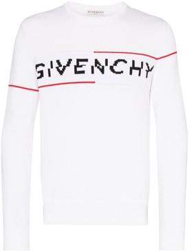 Intarsia logo knit sweater WHITE/RED