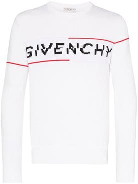 Givenchy - Intarsia Logo Knit Sweater White/red - Men