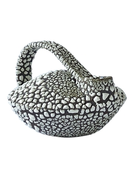 Bottle in red stoneware, Black and white crawling glaze