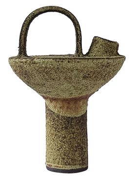 Tall Bottle in mortar stoneware, crème brûlée glaze