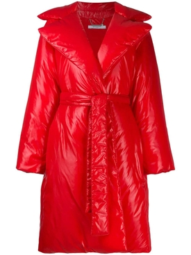 red padded belted coat