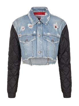 Givenchy - Quilted Sleeve Cropped Denim Jacket - Women