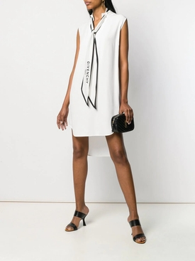White logo bow tie dress WHITE