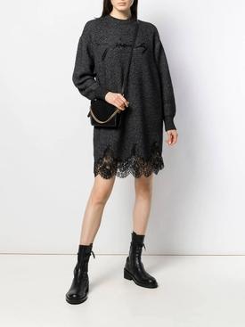 lace scalloped sweater dress